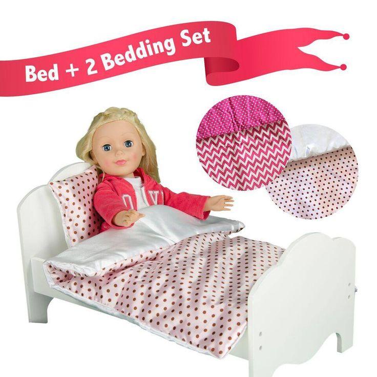 "Olivia's Little World - Little Princess 18"" Doll Single Bed & 2 Bedding Set - Polka Dots / Modern Chevron"