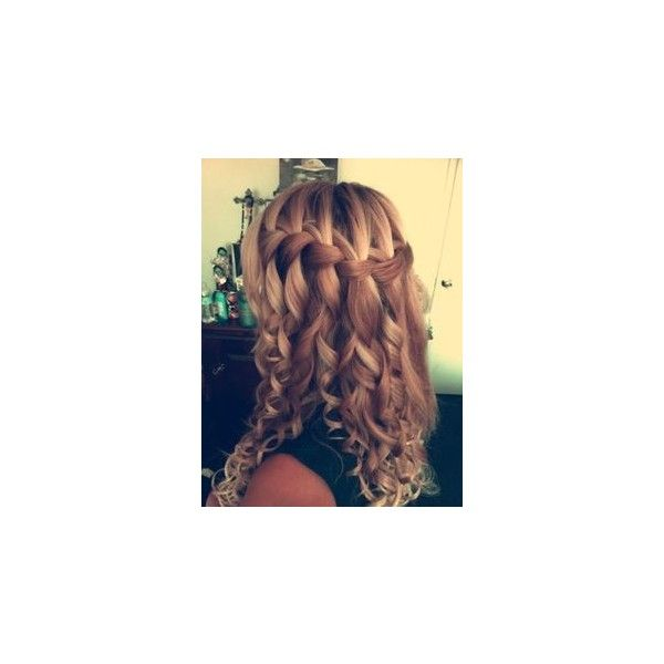 Waterfall Braid in Long Wavy Hair Blonde Hairstyles ❤ liked on Polyvore featuring beauty products, haircare and hair styling tools