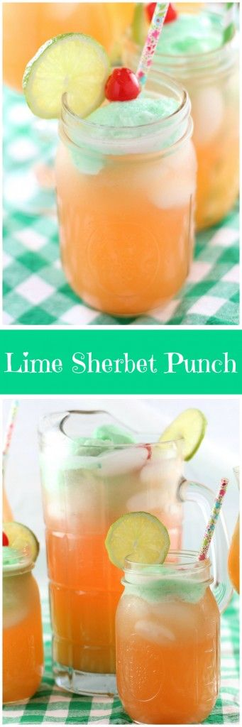 This lime sherbet punch is the quintessential party drink! With lime sherbet, raspberry soda, pineapple juice, and maraschino cherries, it's sweet, fruity, and refreshing!
