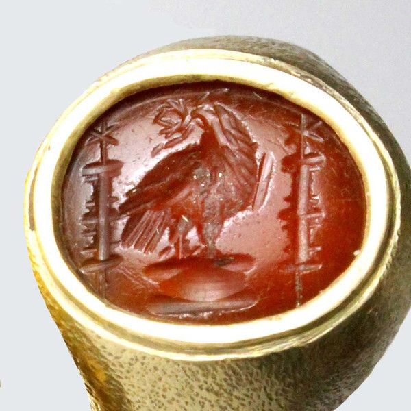 A Roman Intaglio of an Imperial Eagle, ca 1st century AD. - - -  Would like to have this to display on a table.