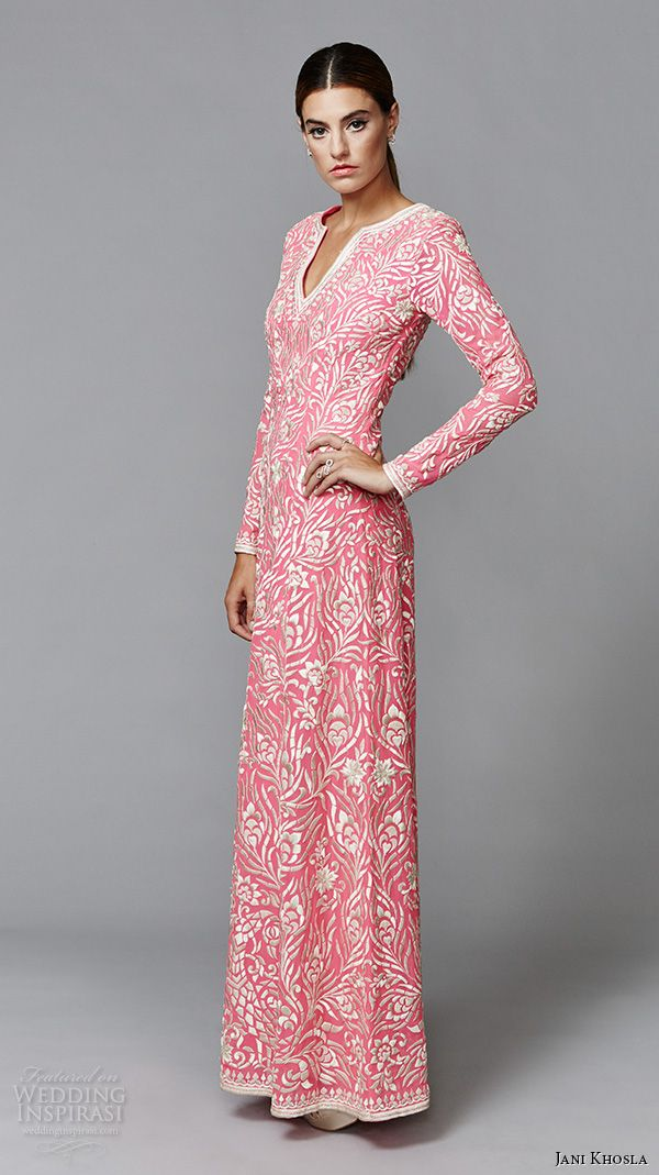 jani khosla 2015 bridal evening dress v neckline long sleeves silver floral embroidery pink sheath gown neon pink floral