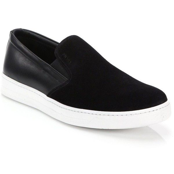Prada Mixed-Media Leather & Suede Slip-On Sneakers : Prada Shoes (10,755 MXN) ❤ liked on Polyvore featuring men's fashion, men's shoes, men's sneakers, apparel & accessories, mens leather sneakers, prada mens shoes, mens suede shoes, mens slip on shoes and mens slipon shoes