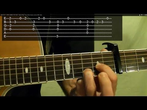 ▶ BEATLES - HERE COMES THE SUN - How to Play - Free Online Guitar Lessons With Tabs - YouTube