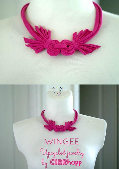 Új! WINGEE rövidállású textilnyaklánc - rózsaszín, Ékszer, óra, Nyaklánc, Meska