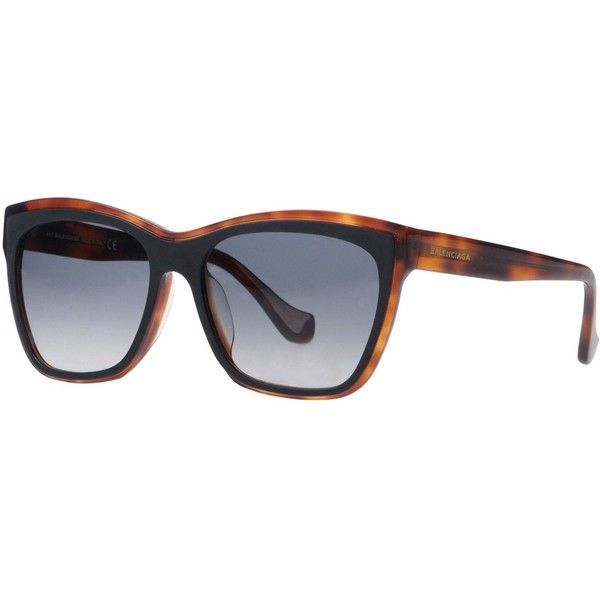 Balenciaga Sunglasses (11,190 INR) ❤ liked on Polyvore featuring accessories, eyewear, sunglasses, brown, brown sunglasses, plastic sunglasses, balenciaga, 2 tone sunglasses and logo sunglasses
