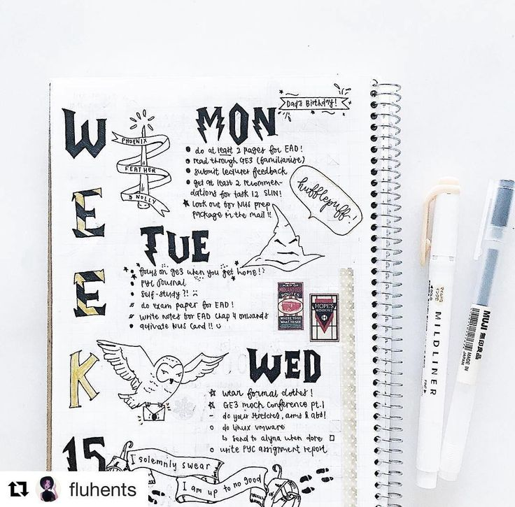 "69 Likes, 1 Comments - Bullet Journal Ideas (@showmeyourbulletjournal) on Instagram: ""#Repost @fluhents (@get_repost) ・・・ harry potter themed week !! #hufflepuffpride fun fact: i used…"""