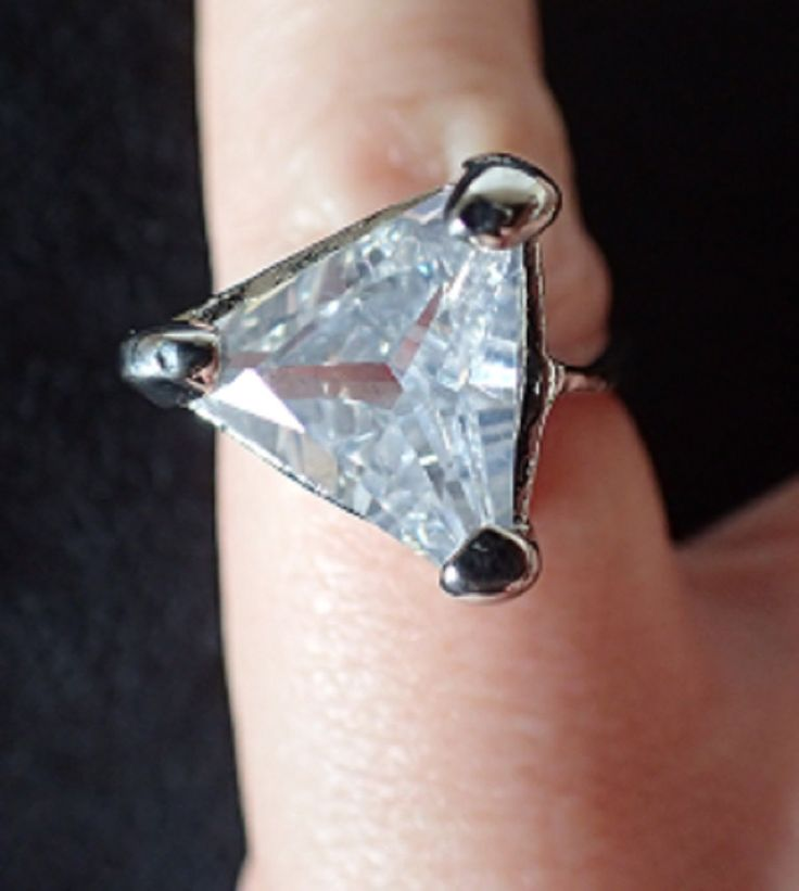 Solitaire Costume Ring with Triangular Clear Stone – Non Adjustable by FelthamAntiques on Etsy