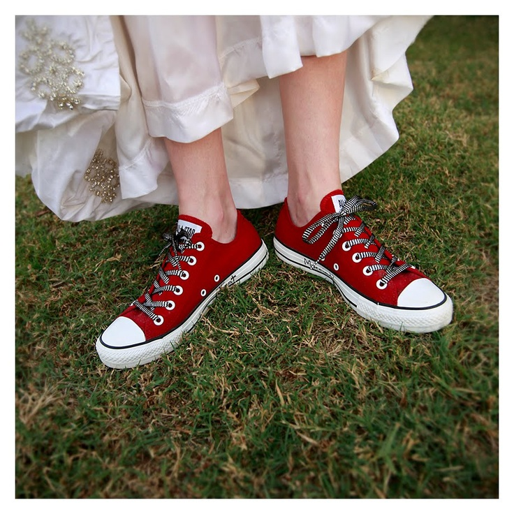 Red Converse With A Wedding Dress Seeing Red
