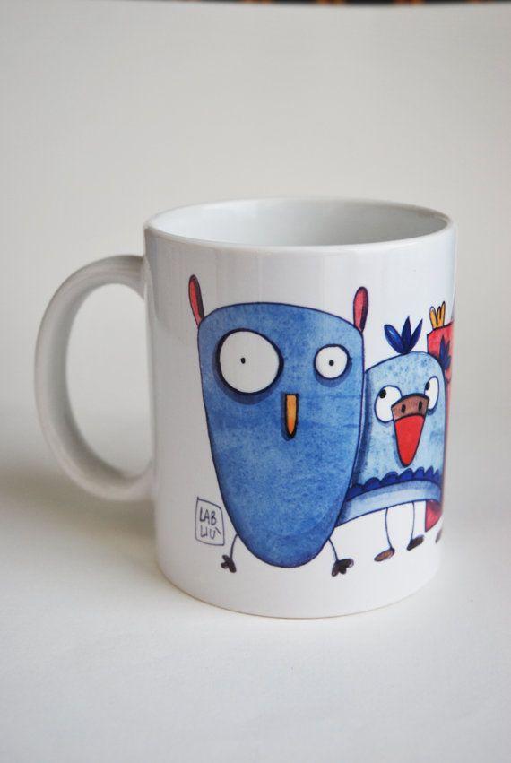 tazza in ceramica con gufi di LabLiu su Etsy #tazza #mug #hibou #illustrazioni #gufi #owl #cucina #kitchen #cuisine