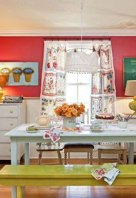 tea towel curtains - love the colors!
