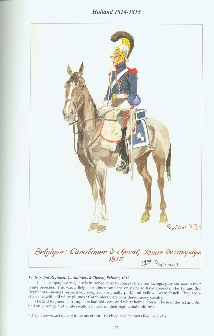 Holland: Plate 5. 2nd Regiment Carabiniers à cheval, Private, 1815