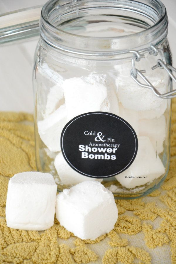 Cold & Flu Aromatherapy Shower Bombs Recipe and FREE Printable Labels | theidearoom.net