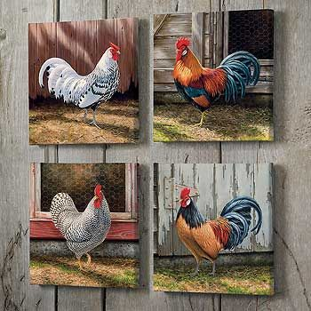 """ROOSTER WRAPPED CANVASES ~  Colorful roosters transform into delightful artistry on your wall. Set of four separately wrapped canvases allow you to adjust your decor anytime you like. Open editions. 10-1/2"""" x 10-1/2"""" wrapped canvases."""
