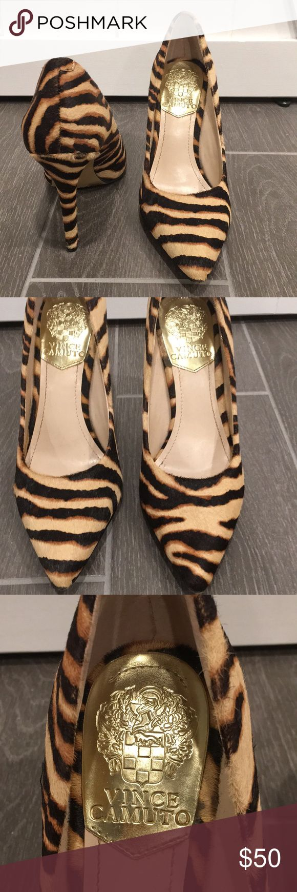 """VINCE CAMUTO Zebra Heel Pointed zebra print heel  Approx 4"""" heel  Worn once   Mint condition except one discoloration on the back of right heel as pictured Vince Camuto Shoes Heels"""