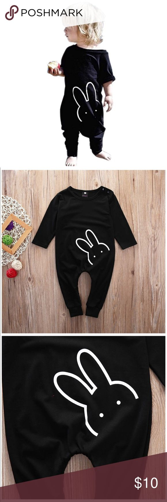 Baby Black Bunny Longsleeve Jumpsuit Newborn Baby Boy Girls Jumpsuit Romper Bodysuit. Snaps at neck for easy on and off. Zipped legs for diaper changes. Brand NEW with High quality. Material: Cotton Blend. Bottoms Jumpsuits & Rompers