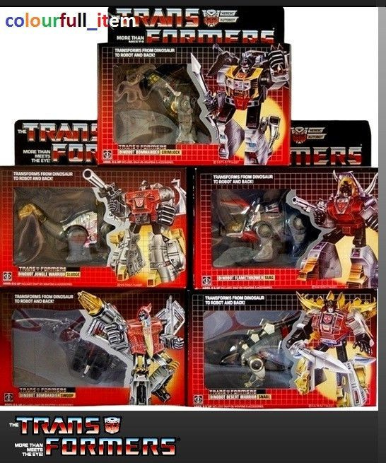 TRANSFORMERS G1 DINOBOTS NEW FULL SET SNARL SWOOP GRIMLOCK SLUDGE SLAG REISSUE