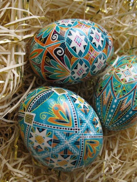Blue Blossoms Easter Egg, Pysanky, hand painted pysanka Ukrainian Easter egg. $39.95, via Etsy. I love the new colors on these.  they'd look great with my traditional ones.