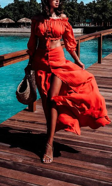 the best red crop top and maxi skirt set