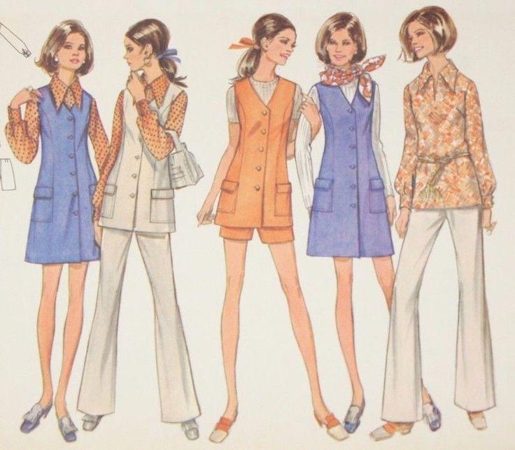 60s Vintage Butterick 5680 Pattern Half Size Jumper Blouse Pants Size 16.5 Uncut
