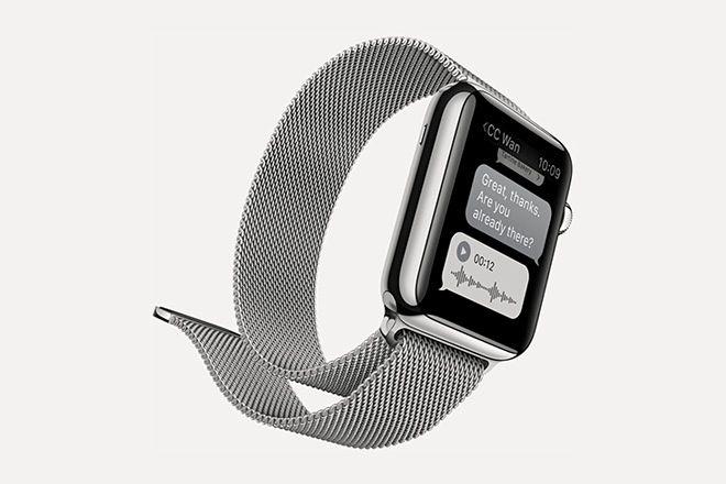 Apple Watch - Boîtier en acier inoxydable / Bracelet Milanais 42mm
