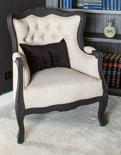 Lounge room next to piano  Louis Armchair | Matte Black with Latte LinenThe Block Shop - Channel 9
