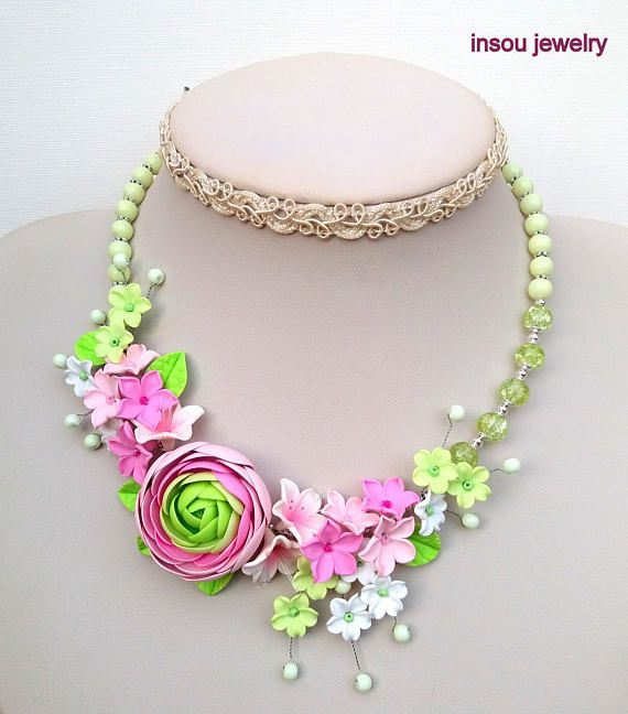 Statement Flower Necklace Pink Jewelry Flower Jewelry