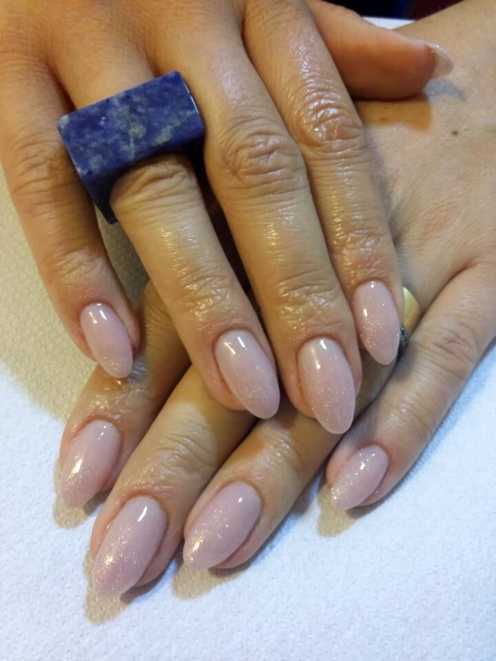 pearly nude almond nails