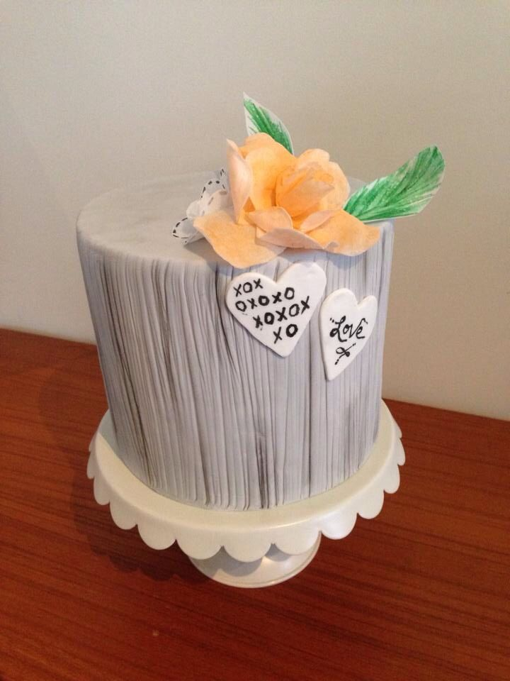 Apricot & grey just go together. A beautiful textured cake by Michelle-Marie's Kitchen