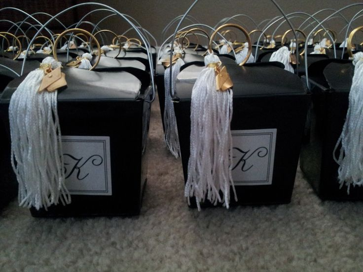 Chinese Take Out boxes for Graduation party favors with Grad Tassel, filled with Graduation Fortune Cookies.