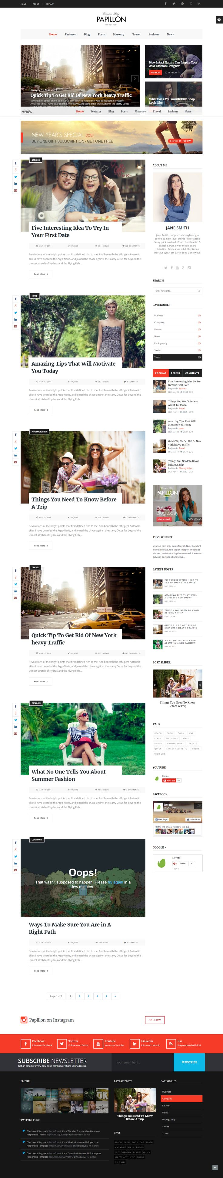 Papillon - Creative WordPress Blog Theme  Papillon is a premium, fully responsive, Retina-Ready WordPress theme with Modern Design. It's very code-light, making it quick to load, and has a pleasingly clean look that's ideal for Blog or Magazine. It comes with some great features – a theme options panel, drag and drop page builder and useful shortcodes.