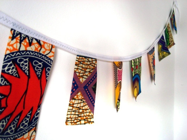 Party bunting African wax print garland