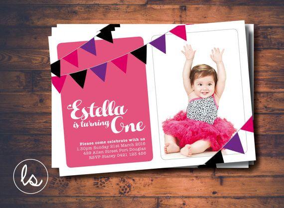DIY PRINTABLE ~ Girl Birthday Invitation ~ Bunting Invitation ~ Photo Invitation ~ Birthday Invitation ~ Printed Invitations
