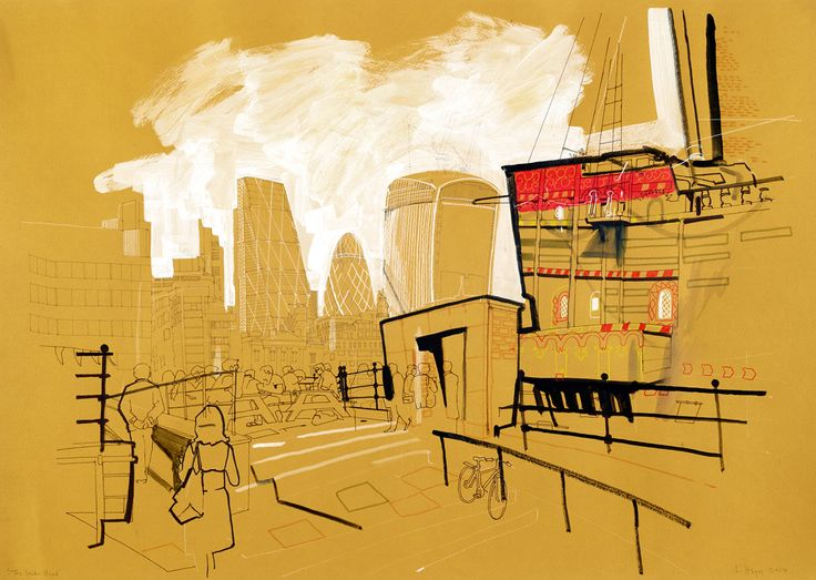 Lyndon Hayes - Golden Hind ::: London Drawings http://www.dutchuncle.co.uk/lyndon-hayes-reportage/