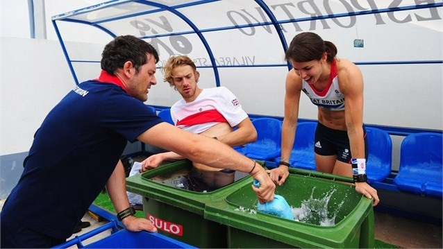 In preparation for the Olympic Games pole vaulter Kate Dennison and long jumper Chris Tomlinson take an ice bath after trainingat the Team GB Track and Field preparation camp at Monte Gordo Stadium in Monte Gordo, Portugal.