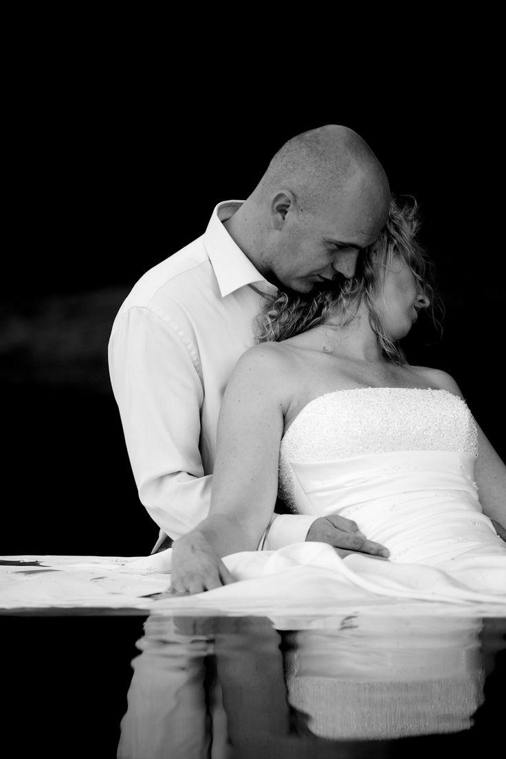 #bride #groom #water #trashthedress #photoshoot #dutchwedding #havelte #september #2010  Photo by Sjoerd Banga, © Banganimation