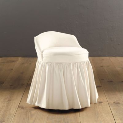 Upholstered Swivel Stool Done In Thibaut Fabric Matching