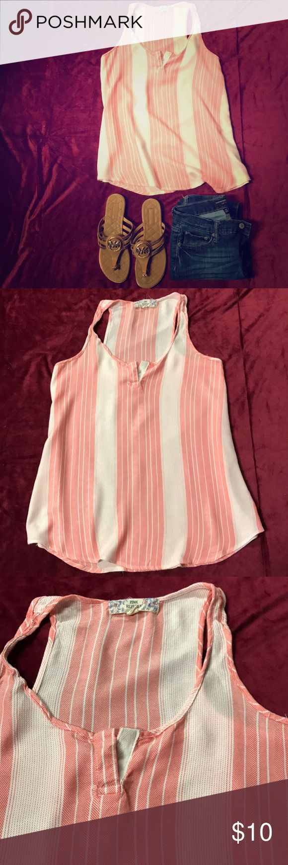 **PINK REPUBLIC** Red/White Striped Tunic Top **PINK REPUBLIC** Red/White striped sleeveless tunic top, Size S. great condition! Perfect for summer days! Pink Republic Tops Tunics