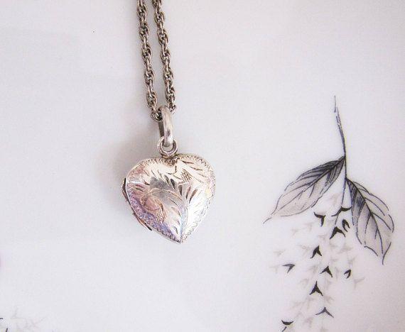 Vintage Sterling Silver Etched Heart Locket Necklace Engraved