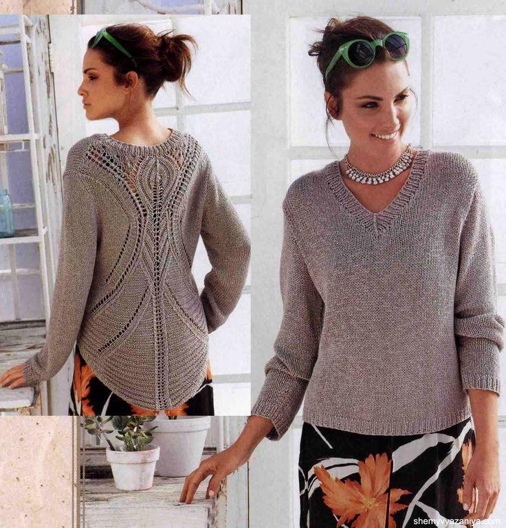 Пуловер с ажурным узором на спинке. Оригинально. А для себя я бы связала такой узор и спереди!