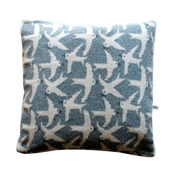 40cm Knitted Lambswool Flying Bird cushion by SallyNencini on Etsy