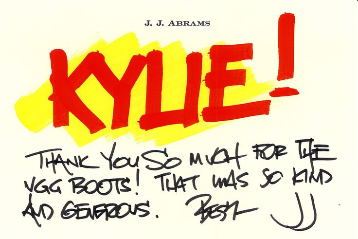 J.J. Abrams may be one of the biggest directors on the planet, but he is also one of the nicest. Check out the lovely note he sent after we delivered a pair of Koalabi Boots during his Star Trek press tour.