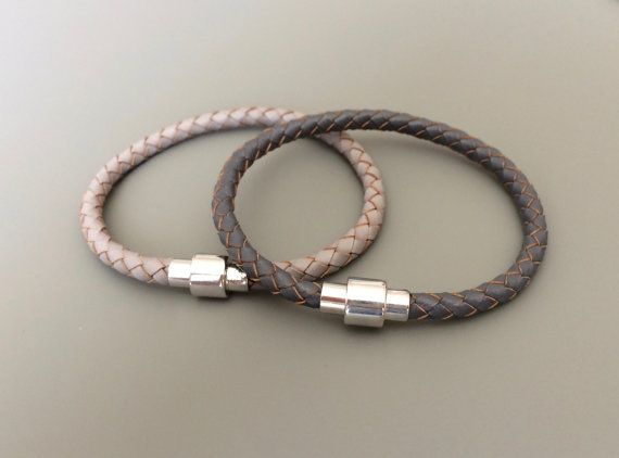 Grey Braided Leather Bracelet Magnet Clasp - Light Grey Dark Gray Braided Leather Bracelet -  Grey Bracelet - Men's Bracelet
