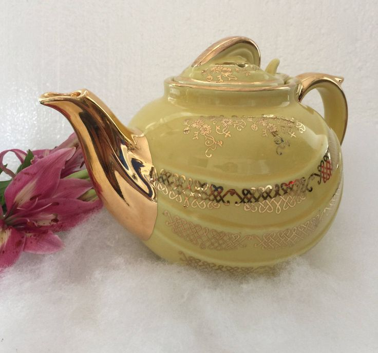 on sale replacement teapots Hall porcelain yellow and gold trimmed vintage kitchenwares  https://www.etsy.com/shop/CoCoBlueTreasures #bing #facebook #pinterest #yahoo #google