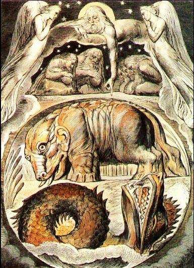 Behemot y el Leviatan. Acuarela del Libro de Job de William Blake.
