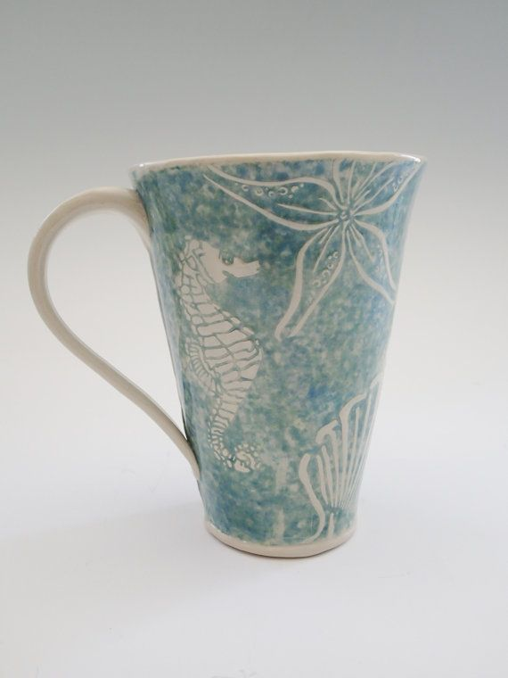 Coffee Mug in Sea Life Design - approx 16 oz (think Starbucks Grande size) for your morning coffee.