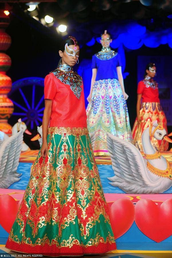 Red and turquoise lengha by Manish Arora at Delhi Couture Week 2013.