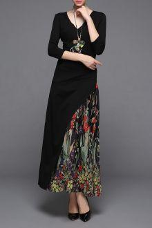 V-Neck Print Patched Dress