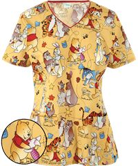 Cherokee Tooniforms Disney Together Time Print Scrub Top