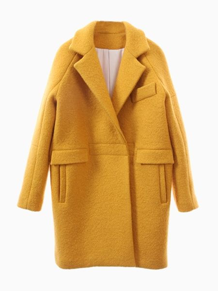 Yellow Woolen Longline Ovoid Coat | Choies