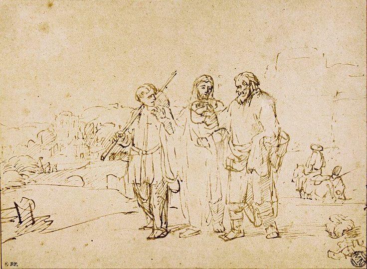 Walking to Emmaus (c.1655), Rembrandt; pen drawing